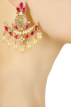 Gold plated pink zircon and pearls crescent earrings available only at Pernia's Pop Up Shop.