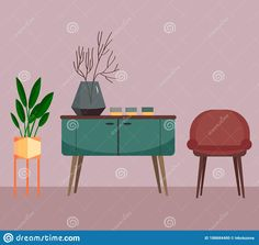 Illustration about Living room interior with a cupboard, a flower and a chair. Vector illustration in a flat style. Illustration of cozy, home, decor - 188684400 Interior Sketch, Flat Style, Fashion Flats, Living Room Interior, Cupboard, Sketches, Cozy, Chair, Drawings