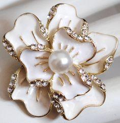 Flower cocktail ring  creme white rhinestones summer wedding gift statement adjustable on Etsy, $15.00