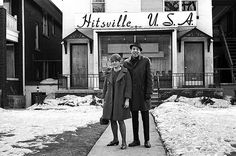 Smokey Robinson in front of Hitsville USA, Detroit, Michigan.