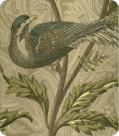 Lewis & Sheron Textiles  Pheasant Hunt Green Blue Natural Paisley Print
