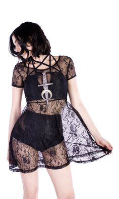 Nightshade dress #disturbiaclothing disturbia baby doll lace dress dagger and moon embroidered patch alien goth occult grunge alternative