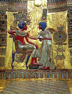 This is easily my favourite piece of Art from Egypt or any where else. This is the Throne of Tutankhamun and the beautiful image depicts the Boy-King and his Queen Ankhesenamun in a touching moment. The young Queen is helping her husband to adjust his collar. The King reclines casually on his seat and the two seem completely at ease with eachother.