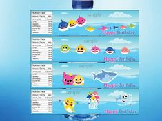 Girl Birthday, Happy Birthday, Thank You Labels, Shark Party, Water Bottle Labels, Ideas Para Fiestas, Everything Baby, Baby Shark, Birthday Invitations