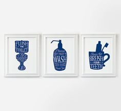 Bathroom art - 3 PRINTABLES: flush the toilet, wash your hands, brush your teeth royal blue/navy blue bathroom decor - instant download