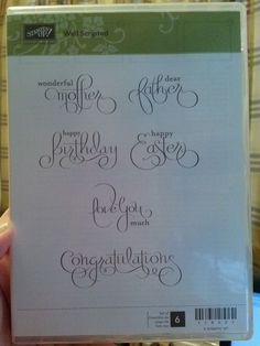 Stampin Up WELL SCRIPTED Clear Mt Stamp Set LOVE Birthday Easter Mother Father #StampinUp #EasterBirthdayMotherFatherLove