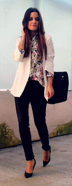 I want to incorporate more colors and prints under basic cardigans and pair with trousers.