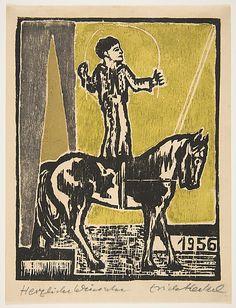 Erich Heckel (German,1883–1970).  Jahresblatt: Junger Reiter, 1955, Woodcut in yellow, ochre, and gray ink, block: 6 11/16 x 5 5/16 inches (17 x 13.5 cm)