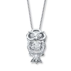 Kay - Diamonds in Rhythm 1/10 ct tw Necklace Sterling Silver Owl
