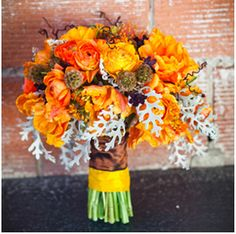 orange and fall wedding flower bouquet, bridal bouquet, wedding flowers, add pic source on comment and we will update it. www.myfloweraffair.com can create this beautiful wedding flower look.