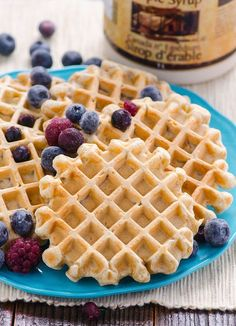 Clean eating waffles made with whole wheat flour and other clean and simple ingredients. Make a double batch and freeze for a worry free healthy breakfast.