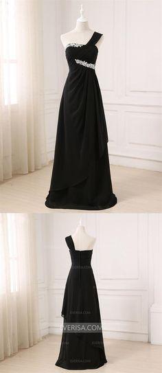 a4e891dd665 Black One Shoulder A Line Prom Dresses Sleeveless Evening Dresses With  Rhinestone