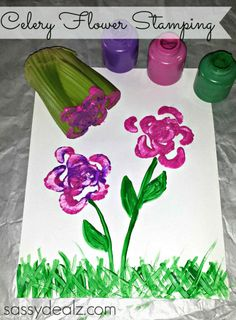 Celery Flower Stamping Craft For Kids #Valentines card idea #DIY | CraftyMorning.com
