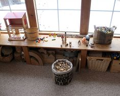 window play table -- GREAT for the front windows in the playroom Classroom Setting, Classroom Design, Natural Play Spaces, Reggio Classroom, Preschool Classroom, Block Area, Home Daycare, Play Table, Classroom Inspiration