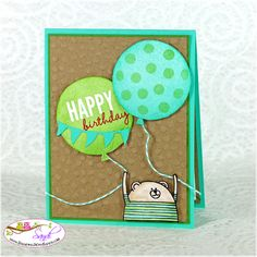 Stampin Up Celebrate today and Cheerful Critters card by Sandi… Z Cards, Card Tags, Cool Cards, Baby Cards, Kids Cards, Stampin Up Cards, Handmade Birthday Cards, Greeting Cards Handmade, Funny Cards