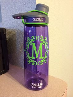 Water bottle with monogram- cut with Silhouette Cameo <3