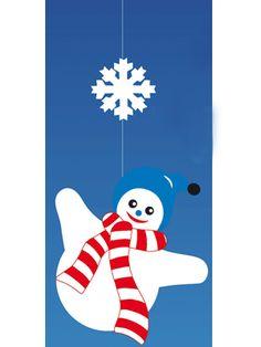 Decoratie hanger met een sneeuwvlok en een sneeuwpop. Materiaal: papier…