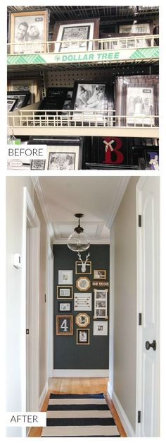 Hall Gallery Wall A hallway gets a major update with paint, thrifted finds and inexpensive Dollar Store frames.- A hallway gets a major update with paint, thrifted finds and inexpensive Dollar Store frames. Cheap Home Decor, Diy Home Decor, Cheap Wall Decor, Upstairs Hallway, Diy Décoration, Diy Crafts, Hallway Decorating, Design Blogs, Dollar Stores