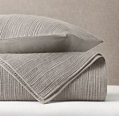 Channel Stitch Cotton Voile Coverlet & Sham