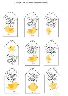 This free Easter printable is for a simple Easter gift tag. These little chick gift tags can be used on presents, gift baskets or on the top of little bags of candies that you can hand out at school. Easter Egg Crafts, Easter Gift, Happy Easter, Easter Eggs, Free Printable Gift Tags, Free Easter Printables, Printable Crafts, Christmas Printables, Party Printables