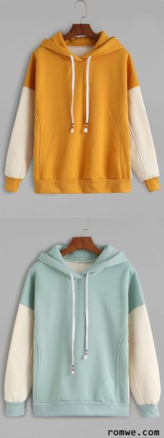Mustard Contrast Sleeve Drawstring Hooded Sweatshirt: