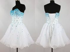 Strapless A Line Blue Crystal White Short Prom Dress,Cheap Homecoming Dress