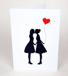 Lesbian Valentine's Card - Silhouette Heart Balloon (Dress & Braces) valentines day card for her, valentines day gift for her,lesbian couple - Lesbian Valentine's Card – Silhouette Heart Balloon (Dress & Braces) valentines day card for he - Valentines Day Wishes, Valentines Day Couple, Valentines Day Gifts For Her, Valentine Cards, Birthday Cards For Girlfriend, Christmas Gifts For Girlfriend, Dating Anniversary Gifts, Anniversary Cards, Lesbian Gifts