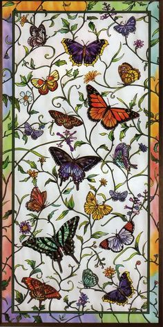 RAINBOW BUTTERFLY BOTANICAL STAINED GLASS WINDOW PANEL image by genieangel. Gorgeous detail<3<3<3