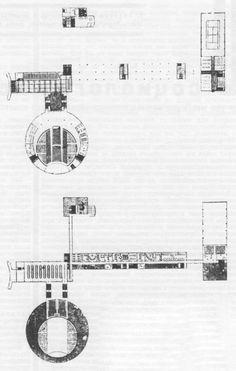 1929. Проект рабочего клуба. План 1 и 2 этажей. И. Ф. Милинис.