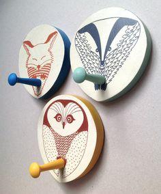 Woodland animals coat hooks. Set of 3 £45. Hand printed by Orwell and Goode.  #owl #fox #badger #hook #coathook #woodlandanimals #woodland