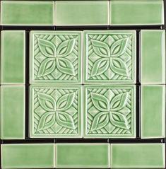 Custom Made Celadon Green Deco Tile Sample