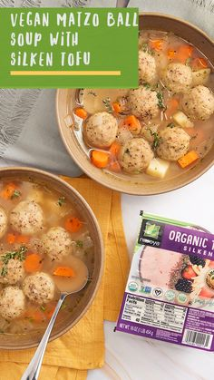 Warm up with this Vegan Matzo Ball Soup paired perfectly with Nasoya Silken Tofu!