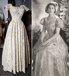 A 1945 Normal Hartnell evening dress used in a sitting for photographer Cecil Beaton at Buckingham Palace is included in the display