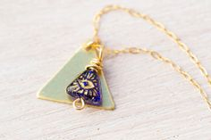 Vintage Pyramid Necklace, Egyptian Necklace, geometric jewelry, brass necklace, cobalt blue jewelry, Eye of the Pyramid