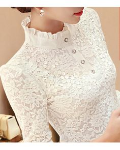 Long Sleeve Fashion Lace Floral Patchwork Chiffon Blouse Shirts