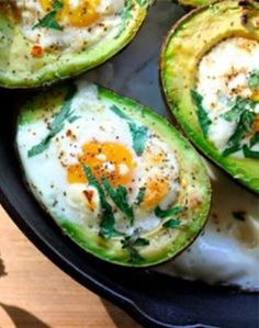 A simple recipe for baked egg in avocado with parsley and goat cheese from Foodie Underground.