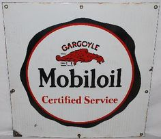 Square sign for Gargoyle Mobiloil Certified Service showing the company's logo of a gargoyle top center.