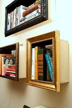 Complete those little bookshelves with cheapo picture frames for a more finished look.