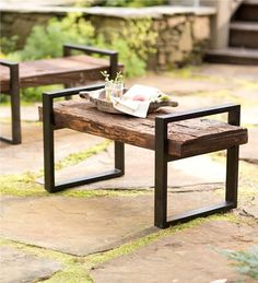 Reclaimed Wood and Iron Outdoor Garden Bench Plow and Hearth Reclaimed Wood And Iron Outdoor Bench i