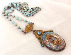 1920s Czech Art Deco Turquoise Glass & Stamped Brass Necklace - art glass - roaring 20s - steampunk - victorian - czechoslovakia - pale blue
