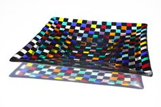 Art Glass Plate - Fused Glass, Tiny Black and Multicolored Squares. $95.00, via Etsy.