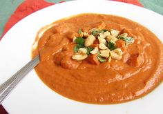 Sweet potato peanut butter bisque. YUM! Super thick. I was skeptical of not blending all the sweet potatoes but so glad I didn't -- this was really great.