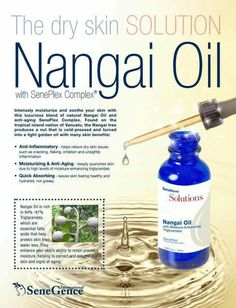 NEW SeneDerm® Solutions Nangai Oil- This blend of pure, natural Nangai Oil and anti-aging SenePlex Complex is your solution for dry skin issues. Nangai Oil contains 94-97% natural Triglycerides, which are essential fatty acids that help lock in your skin's moisture. This luxurious facial oil intensely hydrates to help correct and prevent signs of aging, works to relieve inflammation, and is quick absorbing for a clean, non-greasy feeling for beautiful looking skin.
