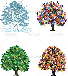 Buy Four Seasons by ntnt on GraphicRiver. Four seasons – trees in spring, summer, autumn, winter Family Room Walls, Bedtime Stories, Four Seasons, Snowflakes, Project Ideas, Projects, Summer Time, Spring Summer, Birds