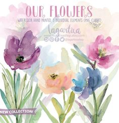 https://www.etsy.com/mx/listing/518388469/clip-art-acuarela-floral-flores #watercolor #flowers #floral #clipart #design #invites #events #cardmaking #plannergirl #diy