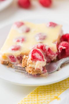This is the number one most requested dessert by all of our friends and family, Lemon Raspberry Bars with a buttery graham cracker crust! Chips Ahoy, Nutella, Just Desserts, Delicious Desserts, Dessert Recipes, Bar Recipes, Milk Recipes, Sweet Desserts, Cheesecake Recipes
