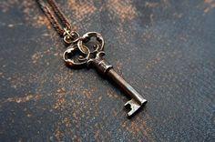 Skeleton Key Necklace Pendant Ornate Bronze Victorian - Gwen Delicious Jewelry Design $65