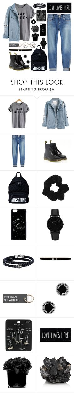 """Untitled #27"" by xxabella ❤ liked on Polyvore featuring Frame, Dr. Martens, Moschino, Topshop, CLUSE, Phillip Gavriel, Nine West, Various Projects, Marc Jacobs and Hervé Gambs"