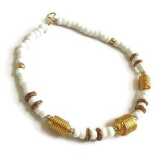 """This is an awesome White Glass Bead Necklace with Gold Metal Spirals #Vintage Modernist Beaded!  This necklace measures 18"""" from end to end and closes with an oversized shep... #vintage #jewelry #ecochic #vogueteam ➡️ http://jto.li/7WCMu"""