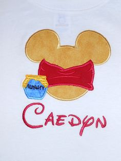 Items similar to Winnie the Pooh bear inspired applique t shirt - Personalized in Disney font your choice of colors boy or girl on Etsy Mickey Mouse Shirts, Disney Shirts, Disney Outfits, Disney Clothes, Disney Vacations, Disney Trips, Walt Disney, Pooh Bear, Winnie The Pooh